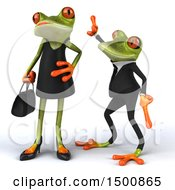 3d Formal Green Springer Frog Trying To Impress A Female On A White Background