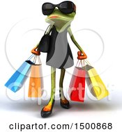 3d Green Female Springer Frog In A Black Dress Carrying Shopping Bags On A White Background