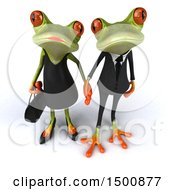 Clipart Of A 3d Formal Green Springer Frog Couple Holding Hands On A White Background Royalty Free Illustration by Julos