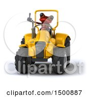 Poster, Art Print Of 3d Red Frog On A Tractor On A White Background
