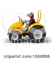 Poster, Art Print Of 3d Red Frog Operating A Tractor On A White Background