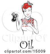 Happy Woman In An Apron Holding Up A Bottle Of Cooking Oil With Text