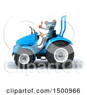 Poster, Art Print Of 3d Blue Frog Operating A Tractor On A White Background