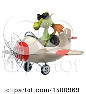 Clipart Of A 3d Green Dragon Flying An Airplane On A White Background Royalty Free Illustration