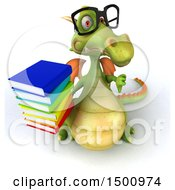 Clipart Of A 3d Green Dragon Holding Books On A White Background Royalty Free Illustration