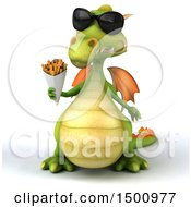 Clipart Of A 3d Green Dragon Holding French Fries On A White Background Royalty Free Illustration