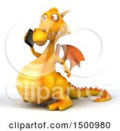 3d Yellow Dragon Holding A Cell Phone On A White Background