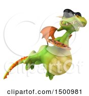 Clipart Of A 3d Green Dragon Holding A Pizza On A White Background Royalty Free Illustration