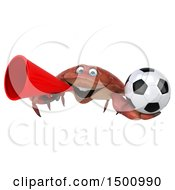 3d Crab Holding A Soccer Ball On A White Background