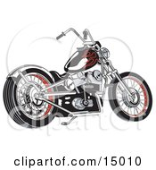 Black Motorcycle With Red Flame Paint Accents Clipart Illustration