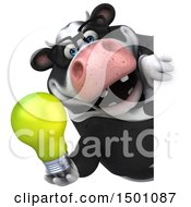 Poster, Art Print Of 3d Business Holstein Cow Holding A Light Bulb On A White Background