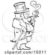 Leprechaun Leaning On A Cane And Smoking A Pipe In Black And White Clipart Illustration
