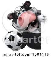 3d Business Holstein Cow Holding A Soccer Ball On A White Background