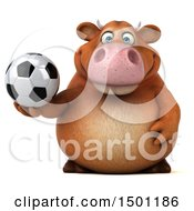3d Brown Cow Holding A Soccer Ball On A White Background