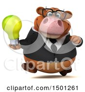 Poster, Art Print Of 3d Brown Business Cow Holding A Light Bulb On A White Background