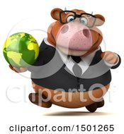 Clipart Of A 3d Brown Business Cow Holding A Globe On A White Background Royalty Free Illustration