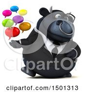 3d Black Business Bull Holding Messages On A White Background