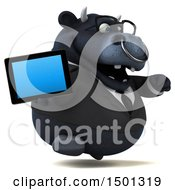 3d Black Business Bull Holding A Tablet Computer On A White Background