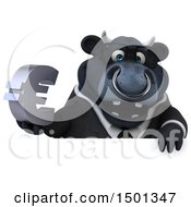 3d Black Business Bull Holding A Euro Symbol On A White Background
