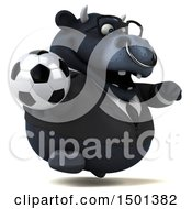 3d Black Bull Holding A Soccer Ball On A White Background