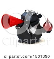 Clipart Of A 3d Black Bull Holding A Blood Drop On A White Background Royalty Free Illustration