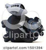 Clipart Of A 3d Black Bull Holding A Plane On A White Background Royalty Free Illustration