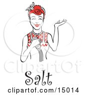 Happy Red Haired Woman Using A Salt Shaker While Cooking With Text Clipart Illustration