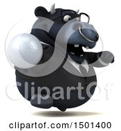3d Black Bull Holding A Golf Ball On A White Background