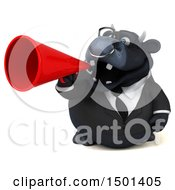 3d Black Bull Using A Megaphone On A White Background