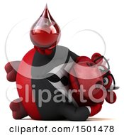 Clipart Of A 3d Red Business Bull Holding A Blood Drop On A White Background Royalty Free Illustration