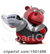 Clipart Of A 3d Red Business Bull Holding A Plane On A White Background Royalty Free Illustration