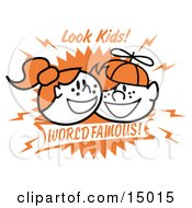 Two Happy Freckled Redheaded Kids One Boy And One Girl Clipart Illustration