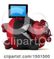 3d Red Business Bull Holding A Tablet Computer On A White Background