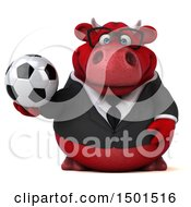 3d Red Bull Holding A Soccer Ball On A White Background
