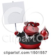 Clipart Of A 3d Red Bull Holding A Blood Drop On A White Background Royalty Free Illustration