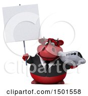 Clipart Of A 3d Red Bull Holding A Plane On A White Background Royalty Free Illustration