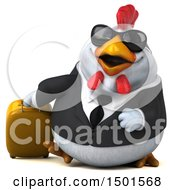 Poster, Art Print Of 3d Chubby White Business Chicken Traveler On A White Background