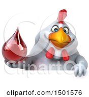 Clipart Of A 3d Chubby White Chicken Holding A Blood Drop On A White Background Royalty Free Illustration