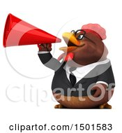 3d Chubby Brown Business Chicken Using A Megaphone On A White Background