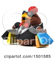3d Chubby Brown Business Chicken Shopping On A White Background