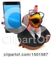 3d Chubby Brown Business Chicken Holding A Smart Phone On A White Background