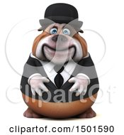 Clipart Of A 3d Gentleman Or Business Bulldog On A White Background Royalty Free Illustration by Julos