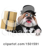 Clipart Of A 3d Business Or Gentleman Bulldog Holding Boxes On A White Background Royalty Free Illustration