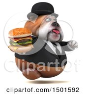 Clipart Of A 3d Business Or Gentleman Bulldog Holding A Burger On A White Background Royalty Free Illustration