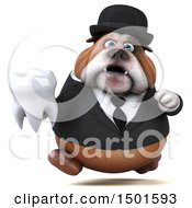 Clipart Of A 3d Business Or Gentleman Bulldog Holding A Tooth On A White Background Royalty Free Illustration