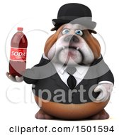 Clipart Of A 3d Business Or Gentleman Bulldog Holding A Soda On A White Background Royalty Free Illustration
