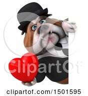 Clipart Of A 3d Business Or Gentleman Bulldog Holding A Heart On A White Background Royalty Free Illustration