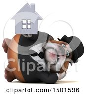 Clipart Of A 3d Business Or Gentleman Bulldog Holding A House On A White Background Royalty Free Illustration
