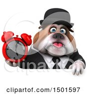 Clipart Of A 3d Business Or Gentleman Bulldog Holding An Alarm Clock On A White Background Royalty Free Illustration