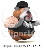 Clipart Of A 3d Business Or Gentleman Bulldog Holding A Brain On A White Background Royalty Free Illustration